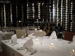 Wine cellar dining at Bearfoot Bistro in Whistler, B.C.