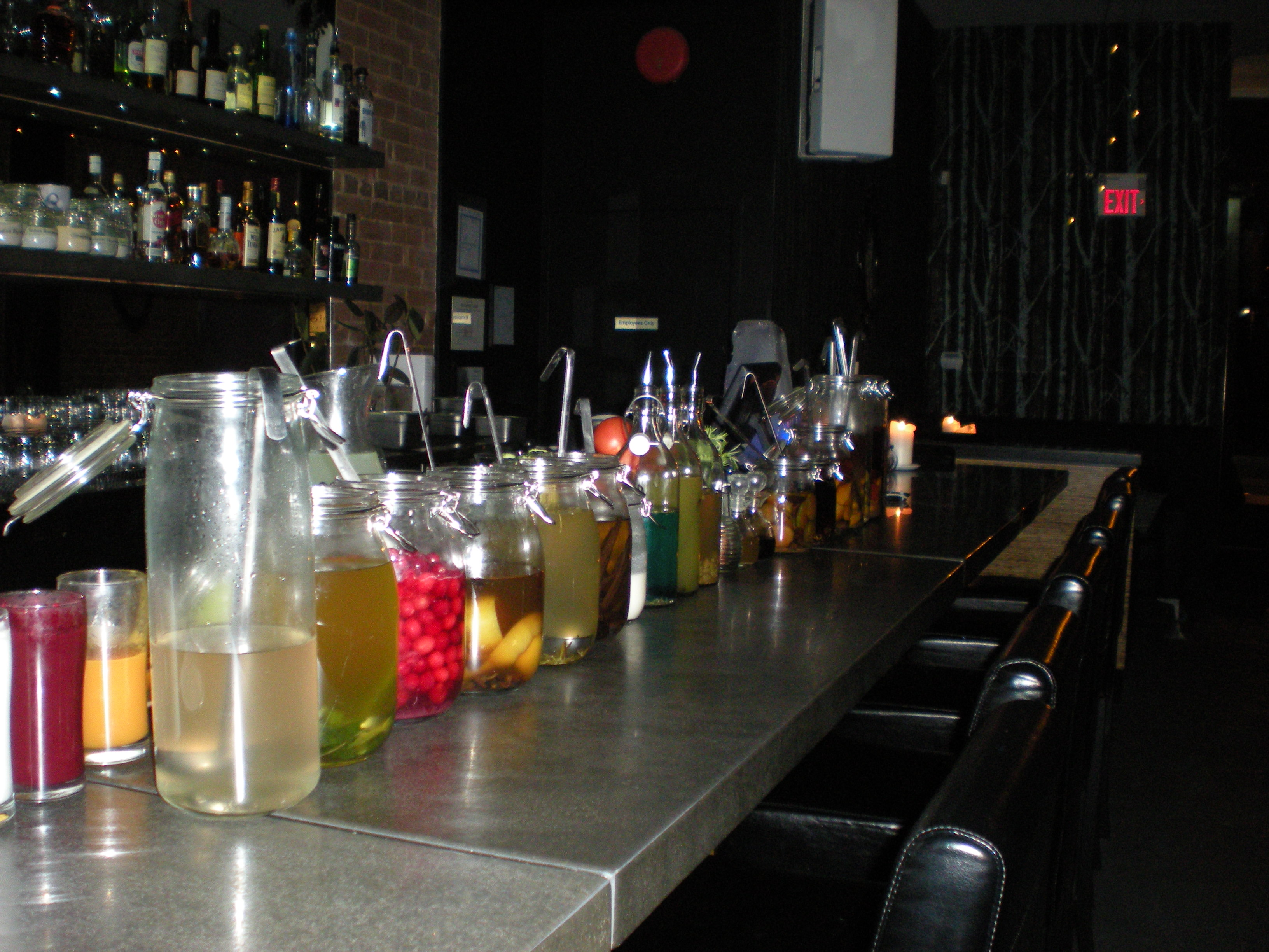 The lineup of bitters and infusions at Bar Chef in Toronto.