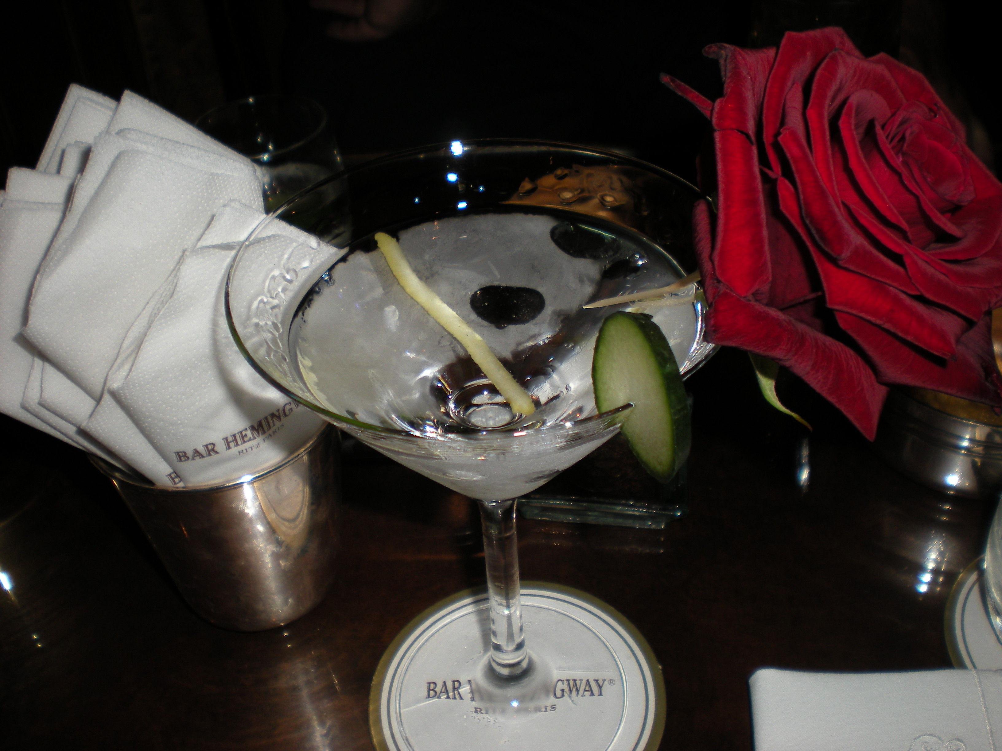 The 30-euro martini at the Hemingway Bar at the Ritz in Paris.