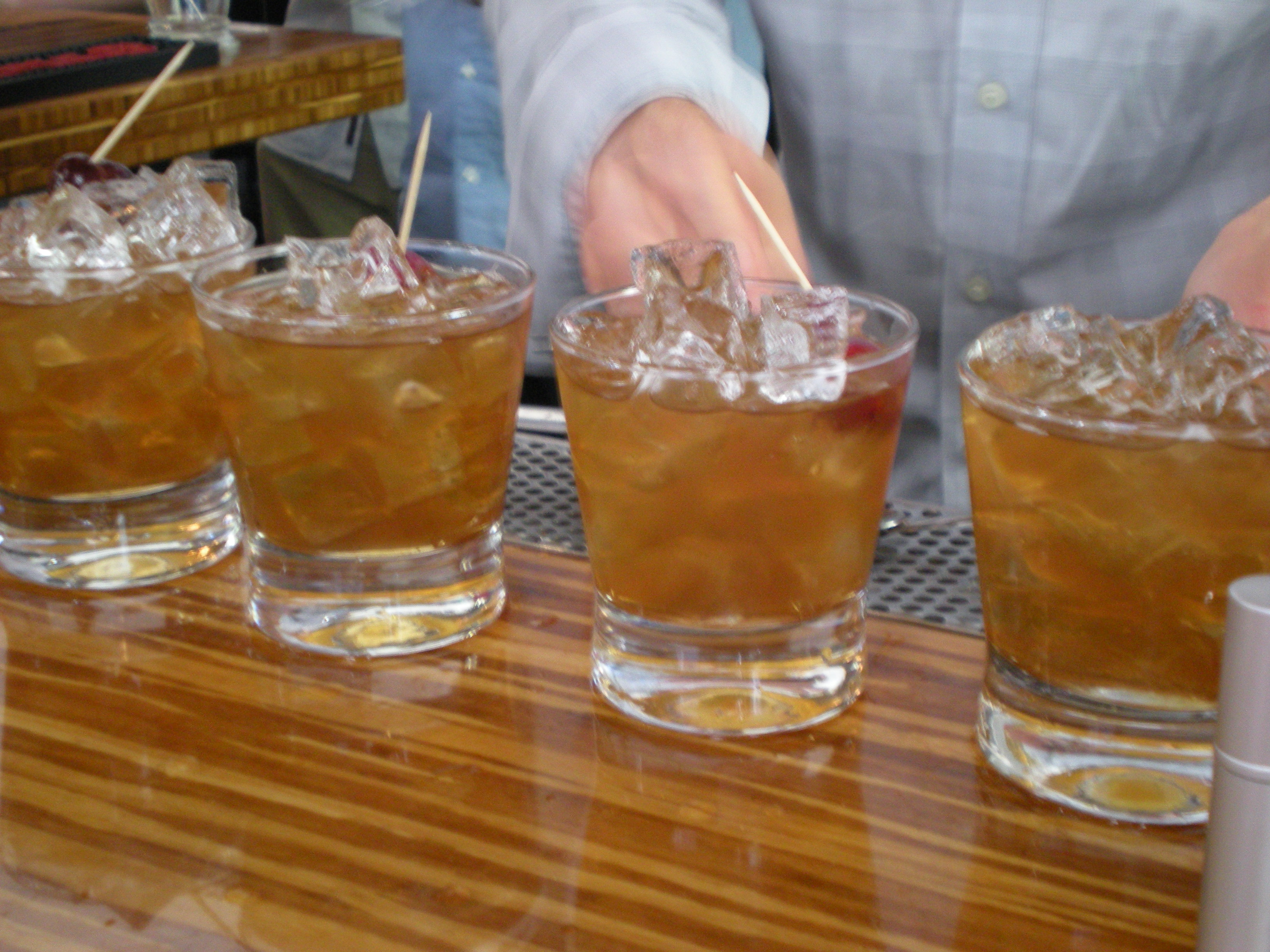 Variations on a theme — Manhattan style drinks ready for the judges