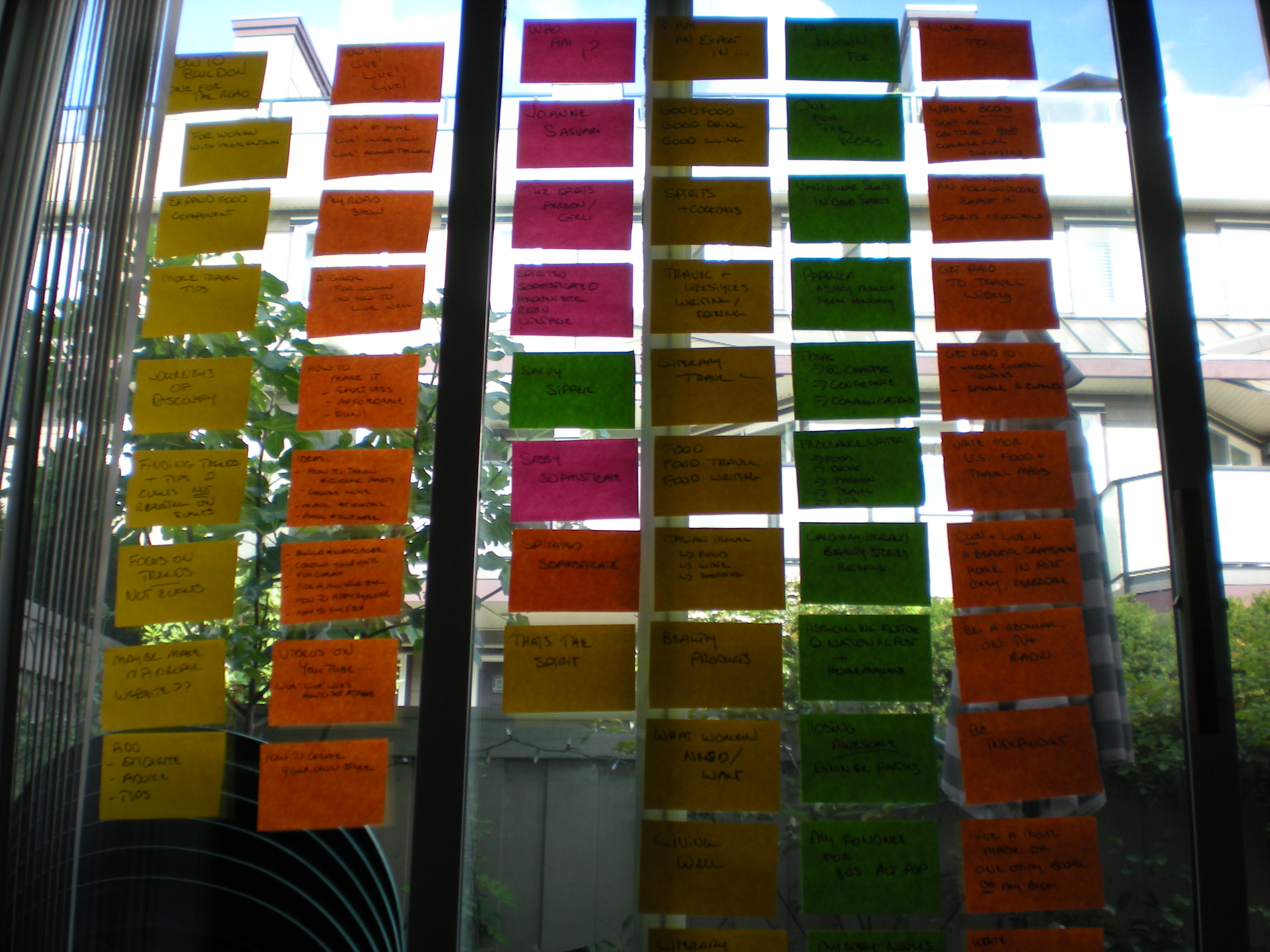 Brainstorming a new direction for One for the Road — with giant Post-Its!